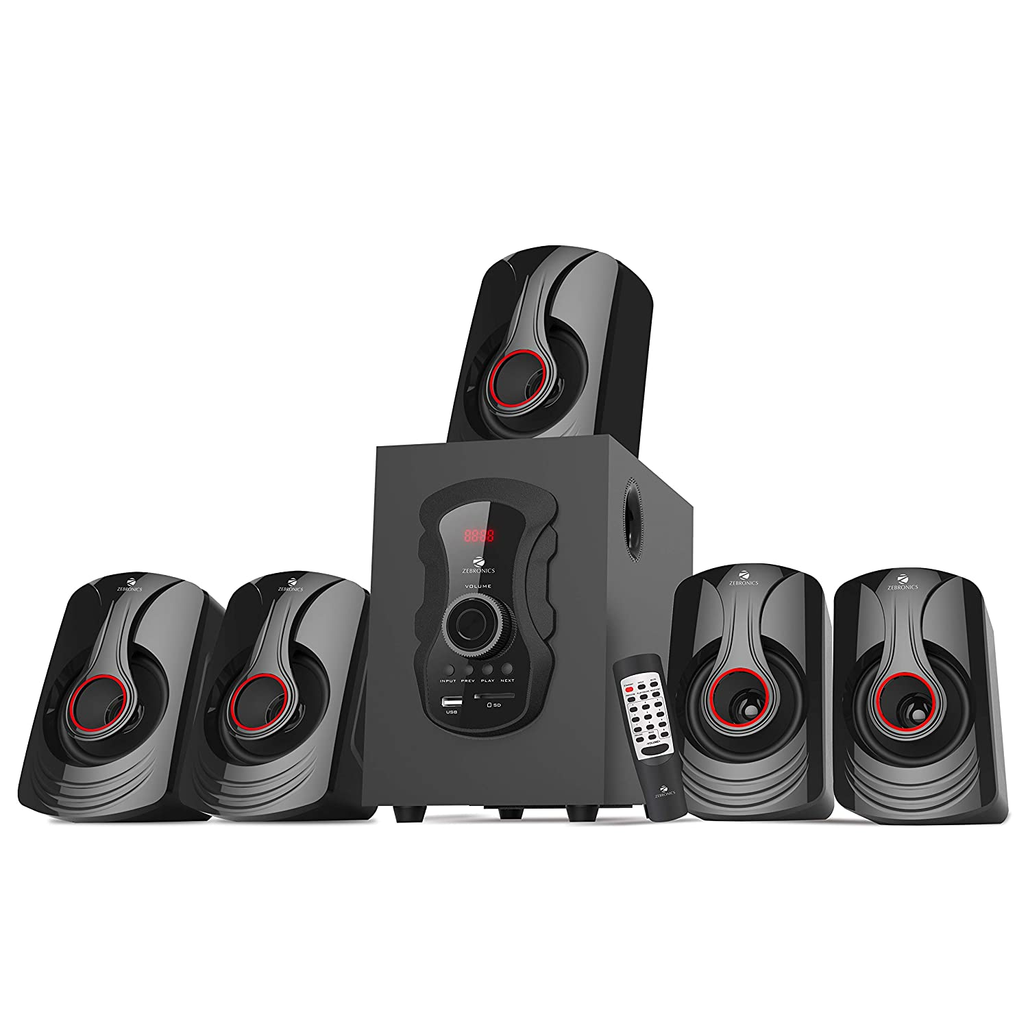 Zebronics ZEB-BT6991RUCFO 5.1 Multimedia Speakers with Bluetooth Connectivity,USB Input and Optical Input