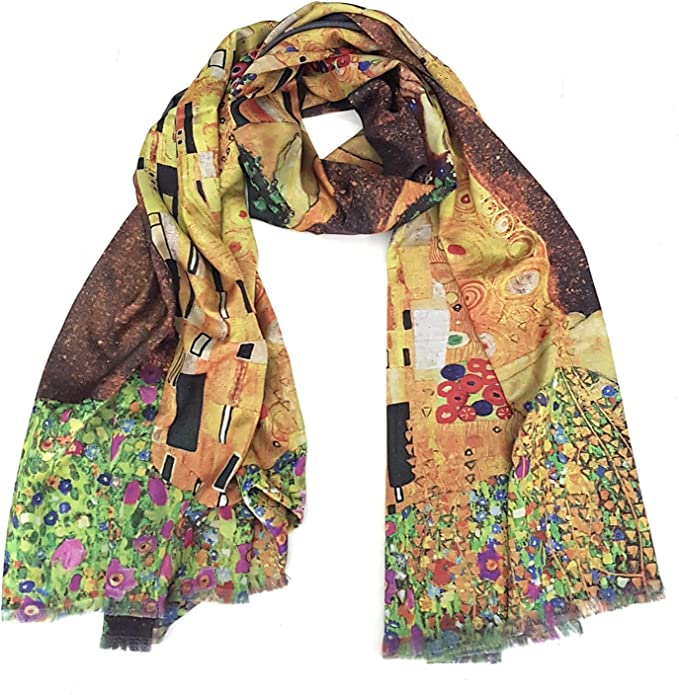 prettystern sciarpa di seta di Lusso Dipinto Gustav Klimt Stile Liberty Foulard Raso di Seta