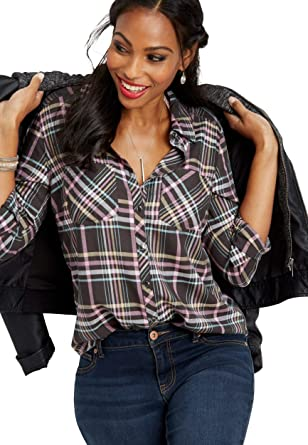 93d4b5aec2 maurices Women's Two Pocket Button Down Plaid Shirt at Amazon ...