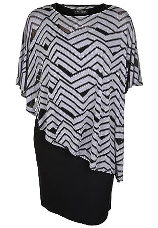 Doris Streich Damen Jerseykleid mit Viskose-Überwurf Grafisches Muster   Amazon.de  Bekleidung 0e78826759
