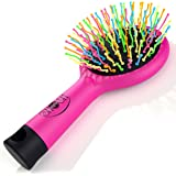 Detangling Brush with Mirror- No Tangle & Pain- Anti Static Soft Bristle- Massaging & Straightening Detangler- Rubberized Grip- Cool/ Cute Colors- Wet & Dry Detangle Comb- For All Hair Types (Pink)