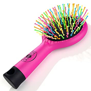 Image result for hair academy hair detangler brush rainbow colour pink handle