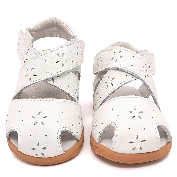 Amazon.com: femizee bebé Girls Piel Puntera Cerrada ...