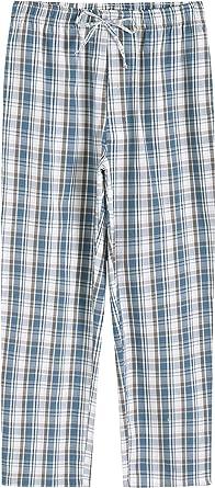 JINSHI Mens Pajama Bottoms Sleepwear Soft Cotton Plaid Lounge Wear Pants