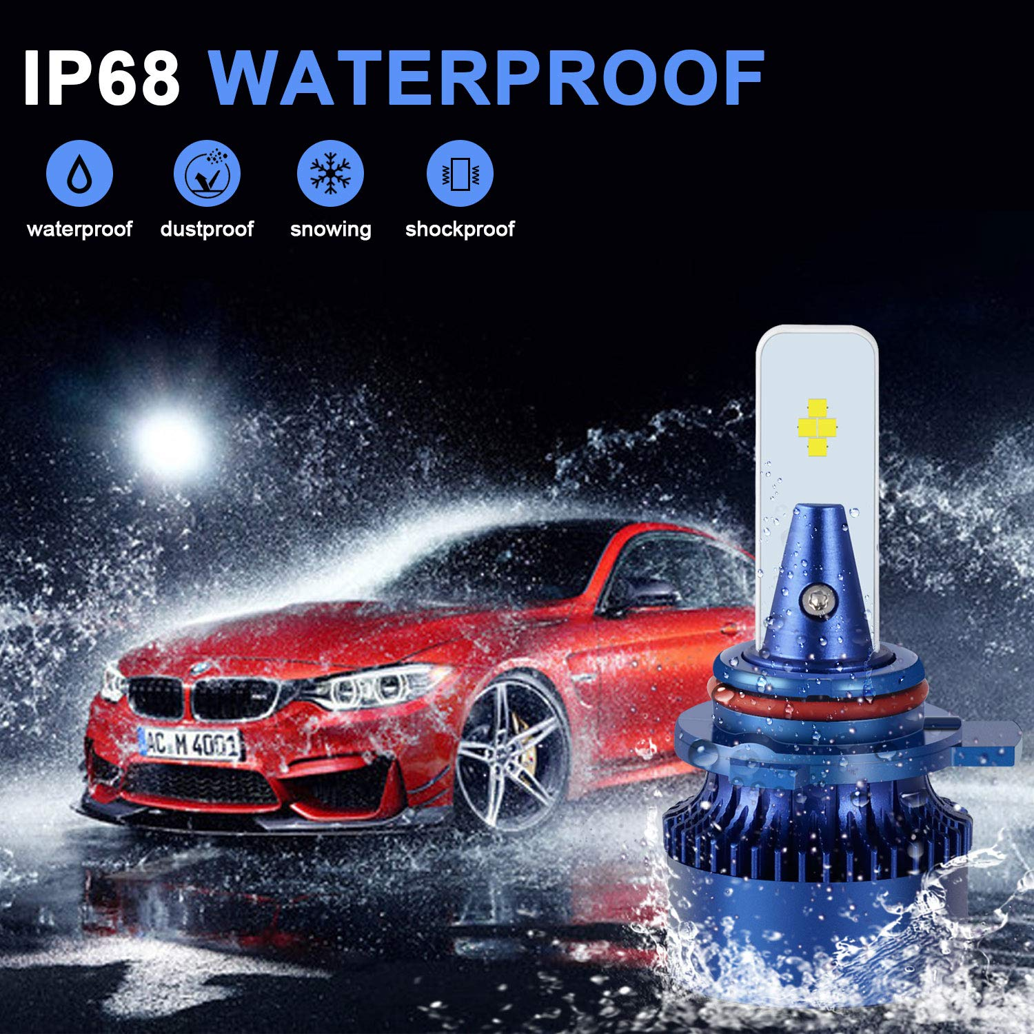 WinPower H4 LED Frontlight Bulb for Motorcycle Hi//Lo Function HS1//P43t//H6//P15D25-3 Motorbike Headlight lamp 35//30W 6000K 3600Lm Xenon White Halogen Upgrade kit 1 Set