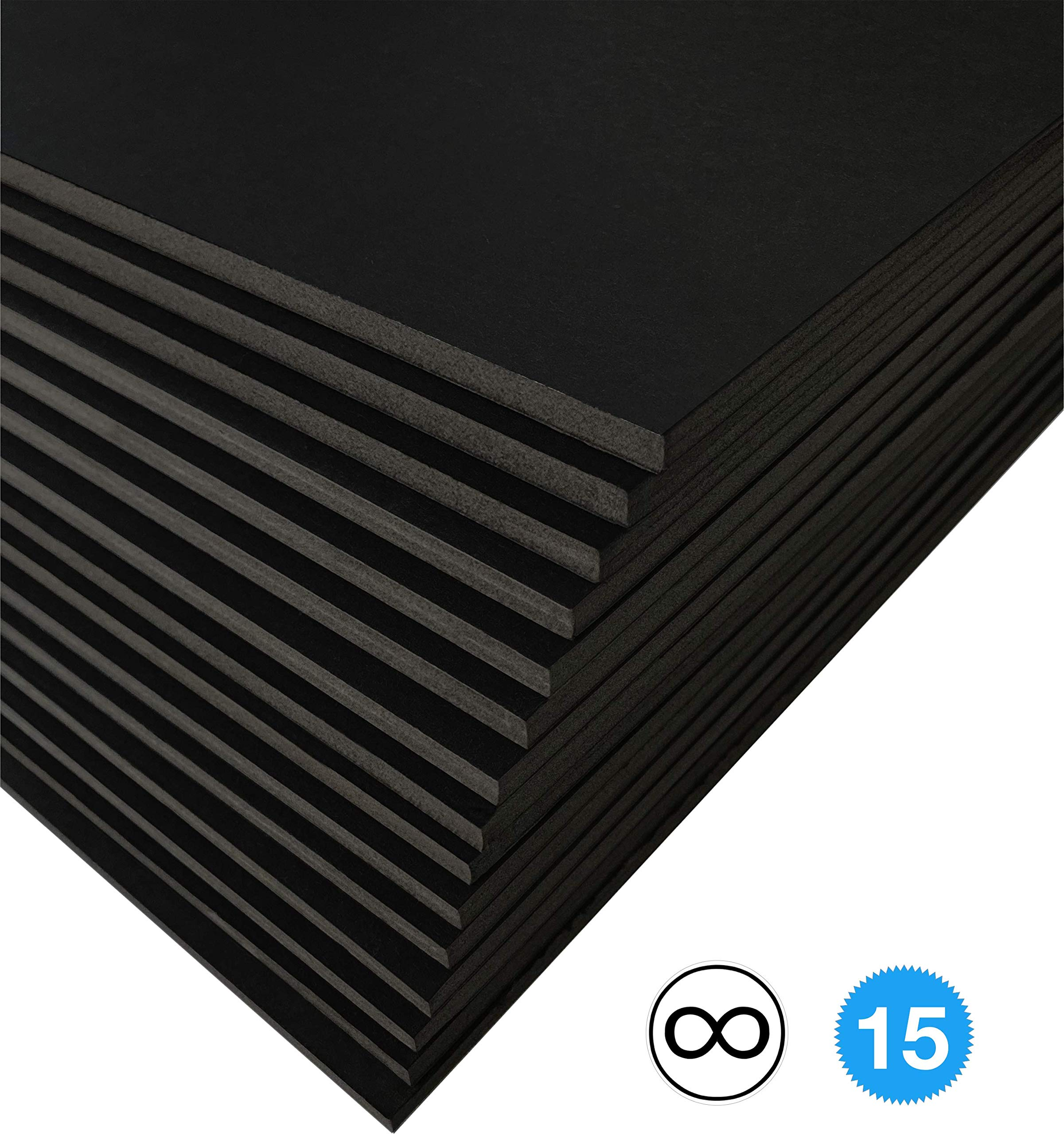 Excelsis Design, Pack of 15, Foam Boards (Acid-Free), 16x20 Inches (Many Sizes Available), 1/8 Inch Thick Mat, Black with Black Core (Foam Core Backing Boards, Double-Sided Sheets)