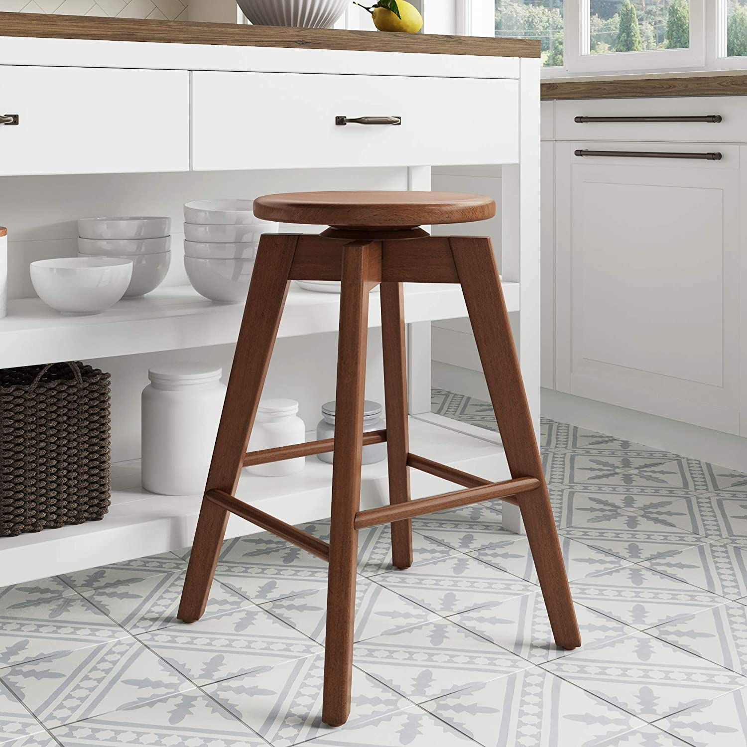 Nathan James Amalia Backless Kitchen Counter Height Bar Stool, Solid Wood with 360 Swivel Seat, Antique Coffee/Brown