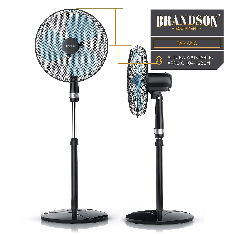 Modelo 2019 Oscilaci/ón Aprox 50 W 3 Niveles de Potencia Negro Flujo de Aire Elevado 85/° 40cm Ventilador de pie Brandson