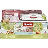 Huggies Newborn Gift Box - Little Snugglers Diapers (Size Newborn 24 Ct & Size 1 32 Ct), Natural Care Unscented Baby…