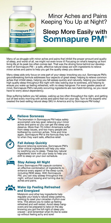 Amazon: Somnapure Pm Natural Sleep Aid To Reduce Minor Aches With  Melatonin, Valerian, & Bromelain, Sleep All Night, Wake Up Refreshed, Peak  Life,