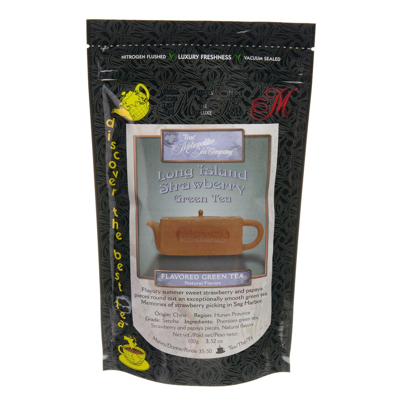 Metropolitan Tea Discovery Loose Tea Pack, Long Island Strawberry Flavored Green, 100gm