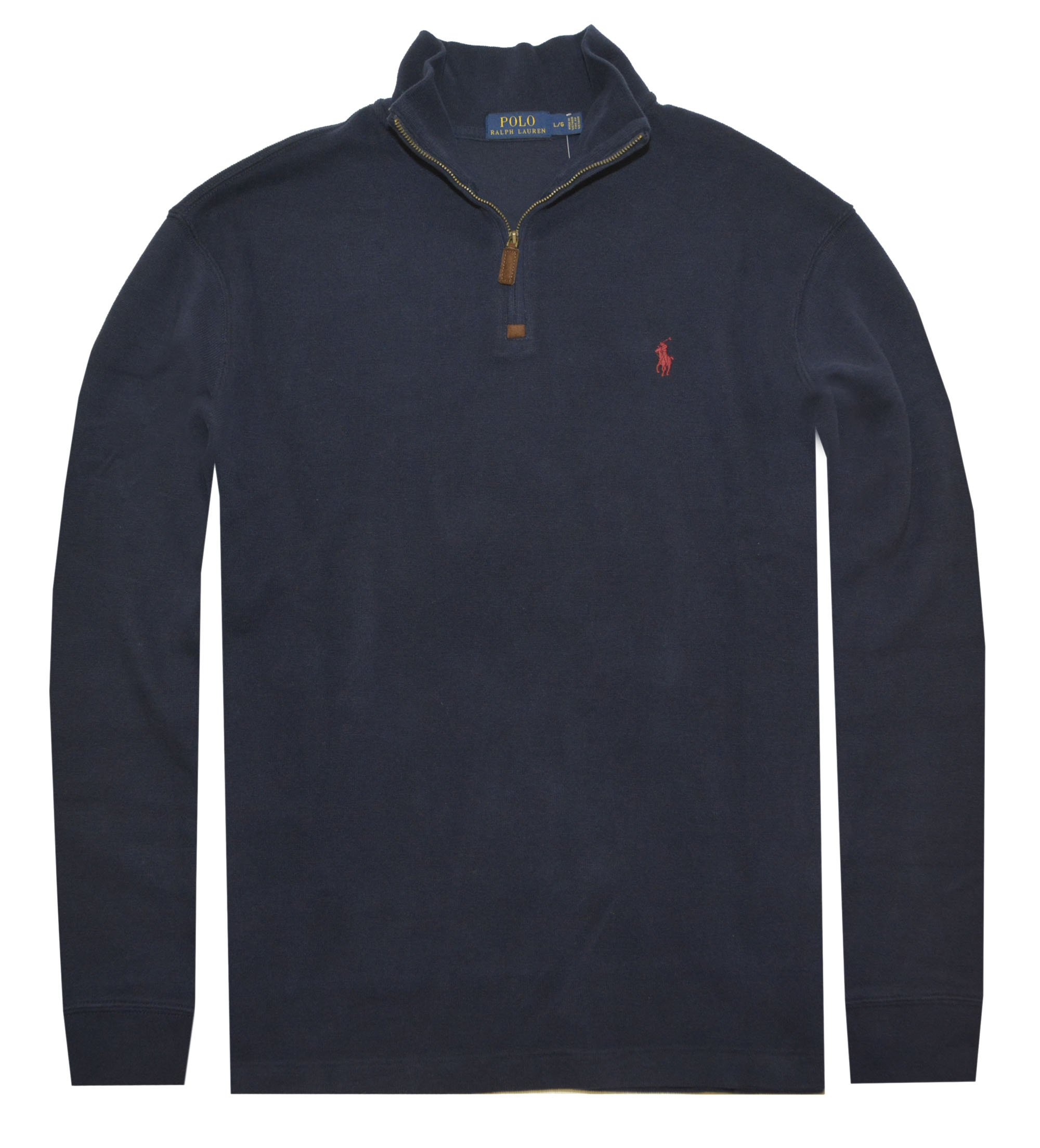 Polo Ralph Lauren Men Half Zip French Rib Cotton Sweater (XL, Cruise Navy)