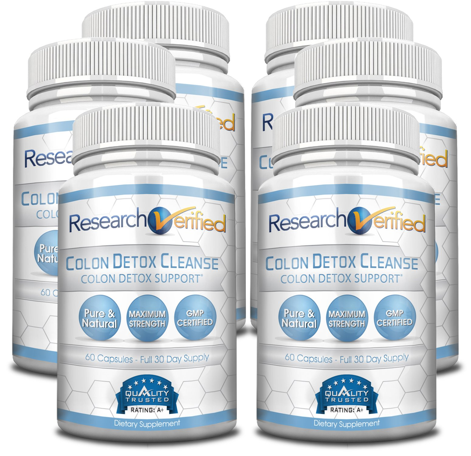 Research Verified Colon Detox Cleanse - #1 Colon Cleansing & Detox Treatment - 100% Natural w/ Probiotics & 19 tested Ingredients - 100% Money Back - 6 Bottles Supply