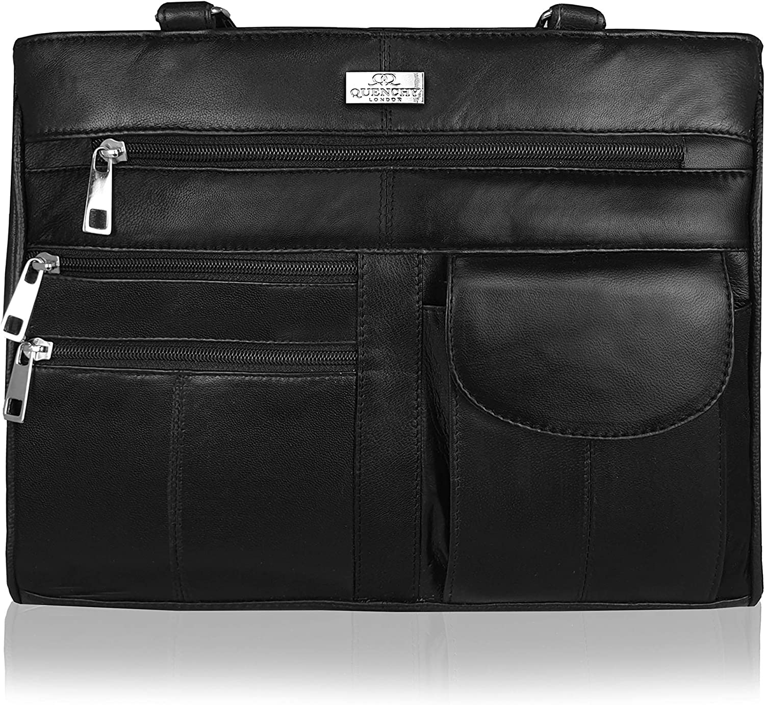 Quenchy London Ladies Leather Purse Handbag in Soft Black Leather - Womens Designer Shoulder Hand Bag with 2 Top Handles – 8 Pockets, 2 Large Zipped Main Sections – Medium Practical Size - QL173