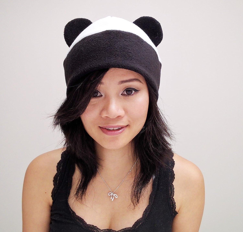 Black Panda Ear Hat Toque Beanie Bear Fleece Anime Manga Ski Snowboarding Convention Goth Punk Rave Costume Cosplay Halloween cat Christmas Gift