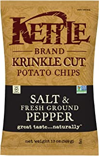 product image for Kettle Brand Potato Chips, Krinkle Cut Salt and Fresh Ground Pepper, 13 Ounce (Pack of 10)