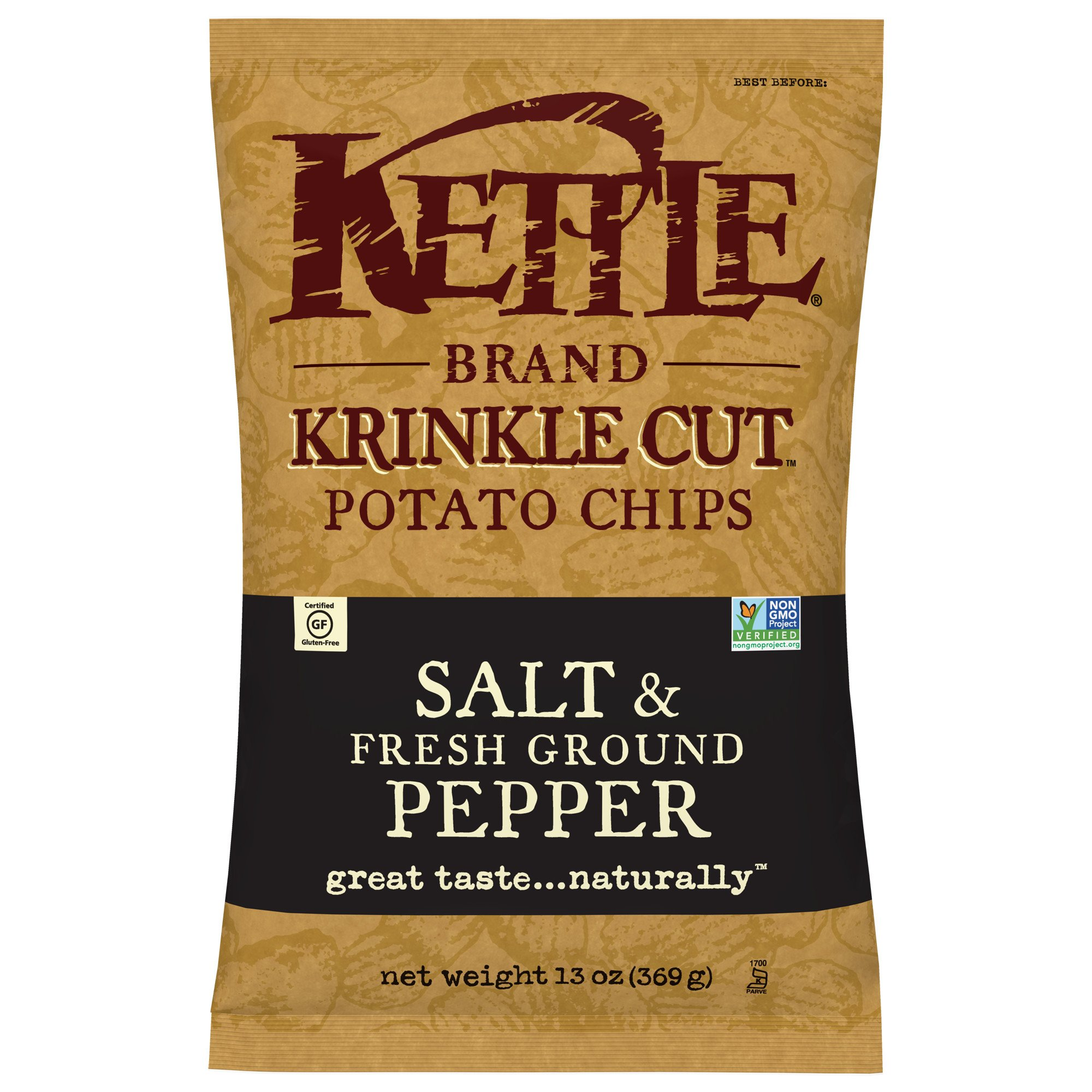 Kettle Brand Potato Chips, Krinkle Cut Salt and Fresh Ground Pepper, 13 Ounce (Pack of 10) by Kettle Brand