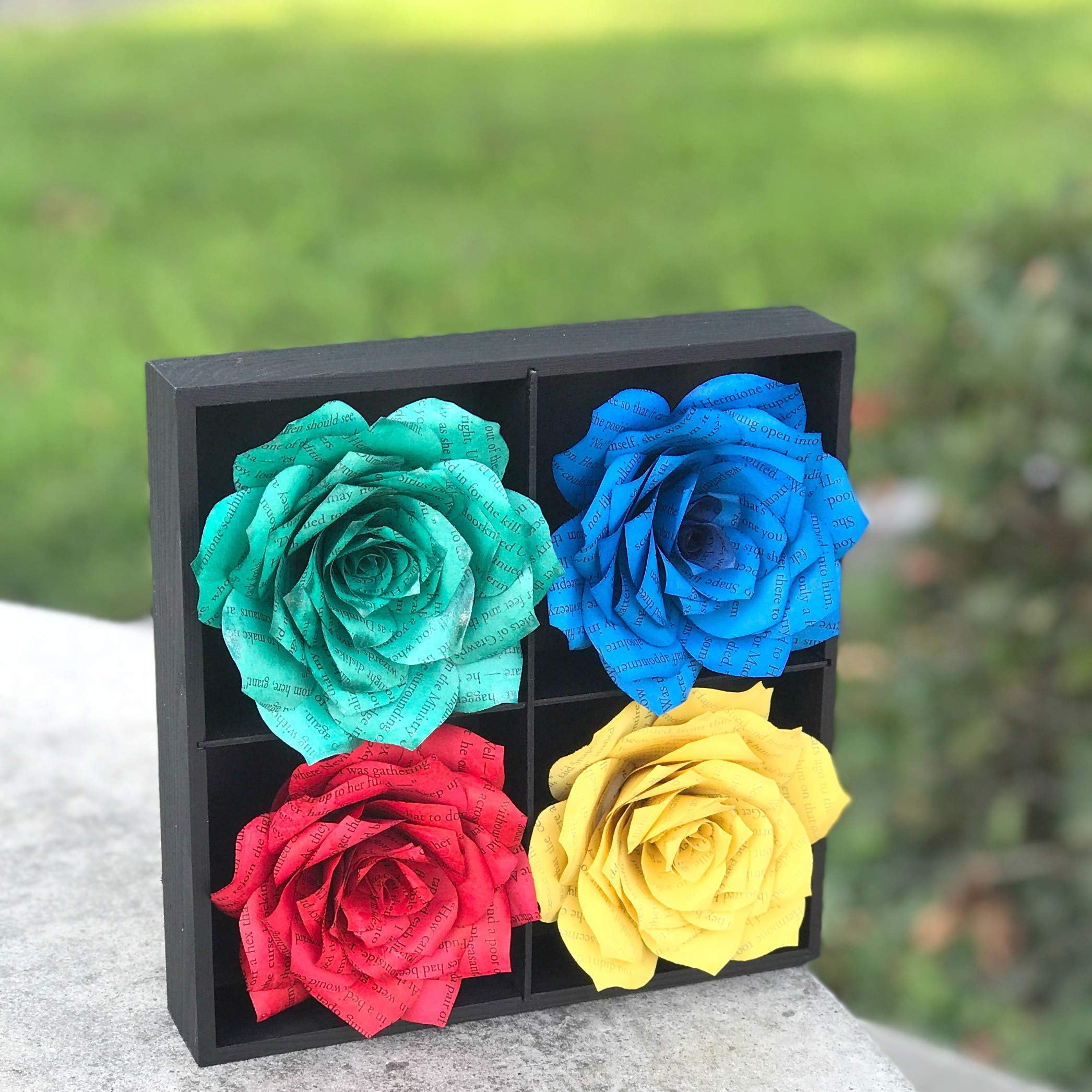 Flower Art in Blue & Red and Yellow and Green Handcrafted Book Page Paper Flowers