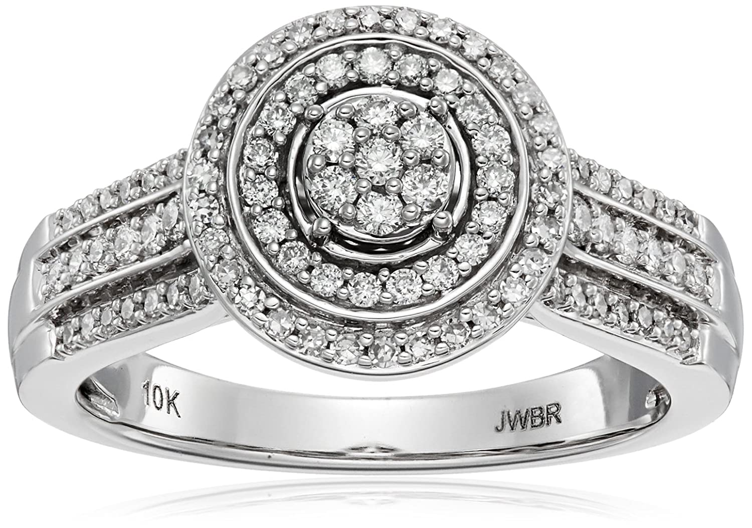 10kt White Gold Diamond 7 Stone Cluster Ring (1/2cttw, H-I Color, I1-I2 Clarity)