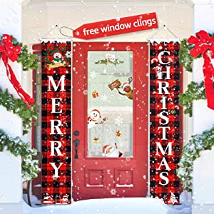 GXAO Christmas Decorations for Home, Outdoor Christmas Porch Sign, Merry Christmas Banners for Front Door Porch Garden Indoor Exterior Kids Party, with 83 PCS Free Window Clings