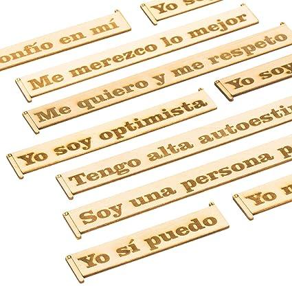 Sticky Reminders Pegatinas Decorativas Reutilizables Frases Motivadoras En Madera Set De Adhesivos Vintage Frases Positivas E Inspiradoras En Español