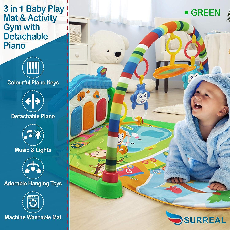Surreal 3 en 1 b/éb/é Piano Tapis de jeu Tapis de jeu Musique et lumi/ères vert
