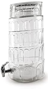 Circleware 69126/R Sun Tea Jar Beverage Dispenser and Glass Lid, Party Entertainment Home & Kitchen Glassware Water Pitcher for Juice, Beer, Kombucha & Cold Drinks, Huge 2.2 Gallon, Tower of Pisa
