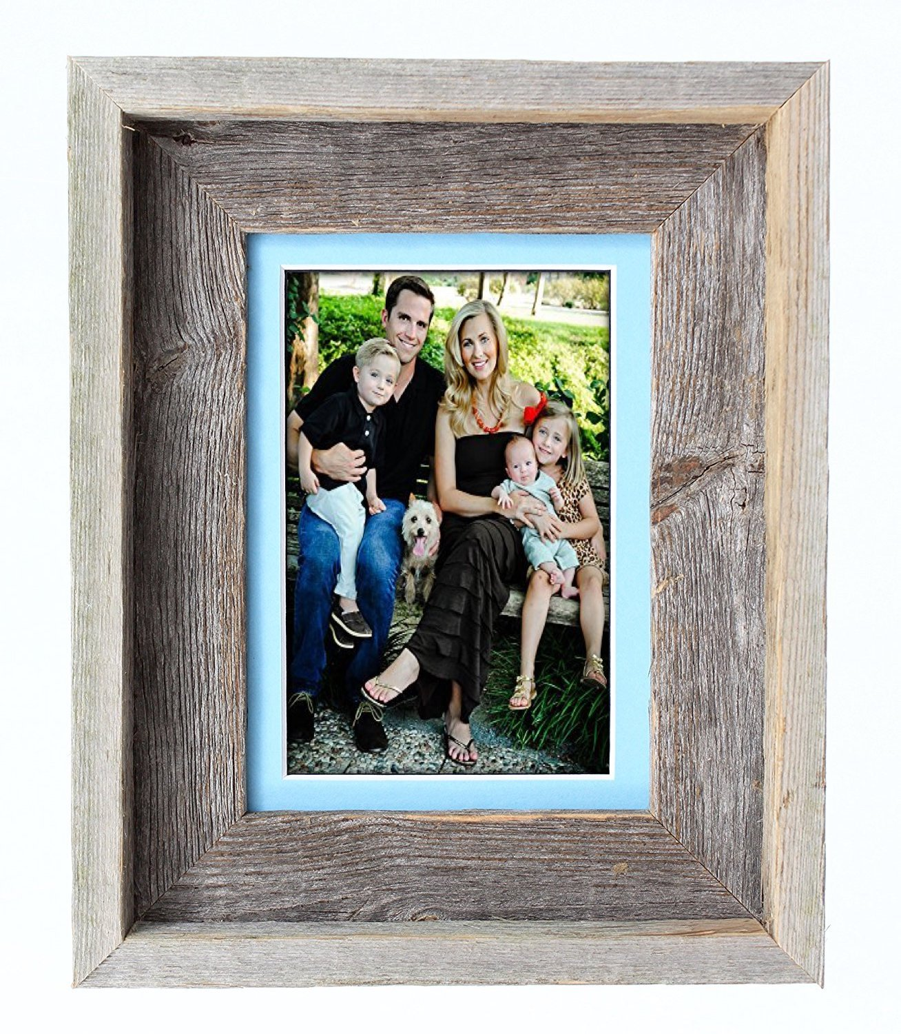 Aqua 4x6 BarnwoodUSA 16 by 20 Inch Signature Picture Frame Matted for 11 by 14 Inch Photos- 100% Reclaimed Wood, Burlap Mat