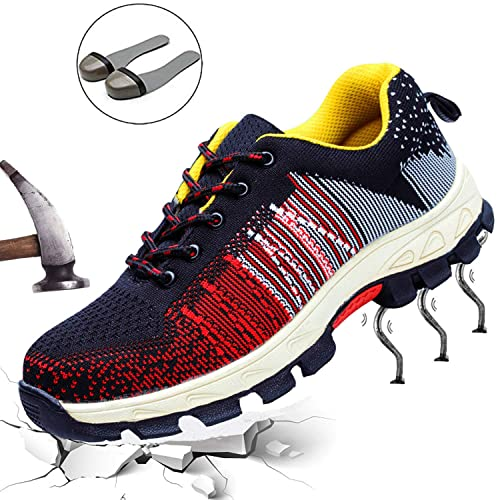 e667a4b51ec DADAZE Womens Mens Safety Shoes Work Shoes Steel Toe Cap Trainers Flyknit  Breathable Lightweight Ankle Shoes Hiking Sport Sneaker