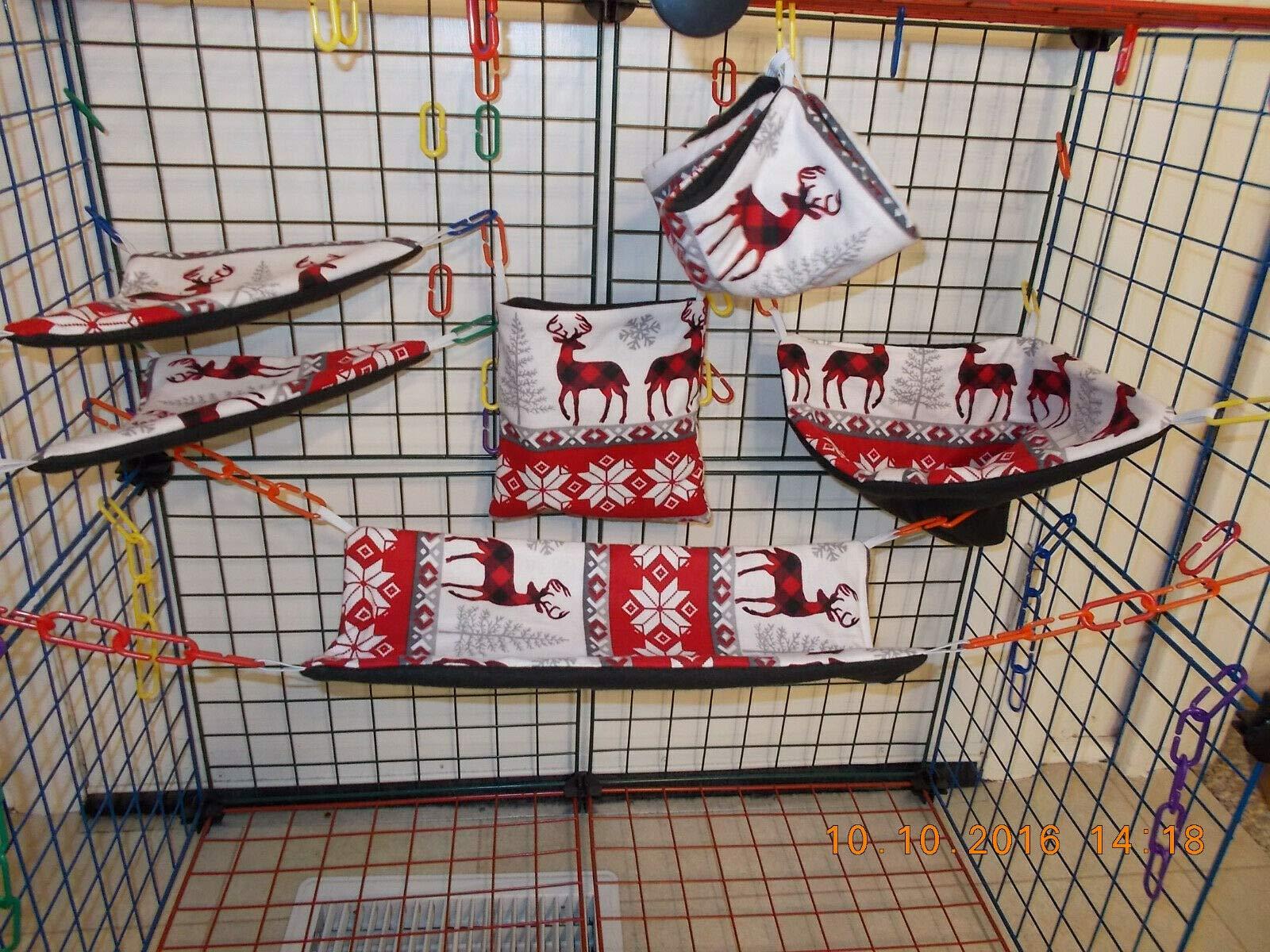 FidgetKute Winter Deer Sugar Glider 6 pc cage Set Show One Size by FidgetKute