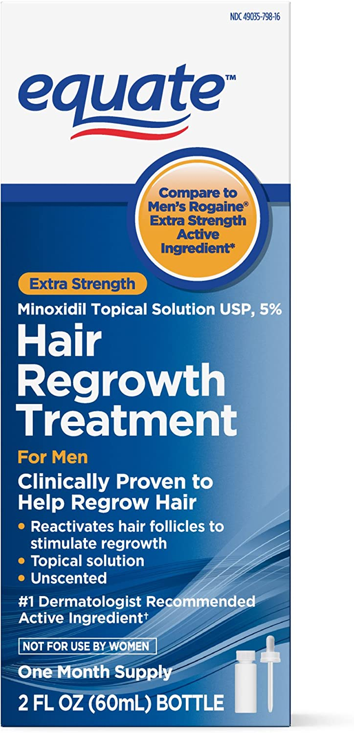 Equate - Hair Regrowth Treatment for Men with Minoxidil 5% Extra Strength, 2 fl oz: Health & Personal Care