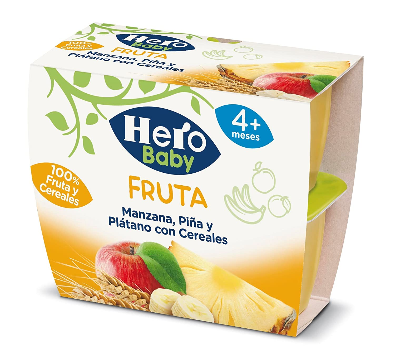 Hero Baby Todofruta Manzana Piña Platano con Cereales - 4 x 100 gr: Amazon.es: Amazon Pantry
