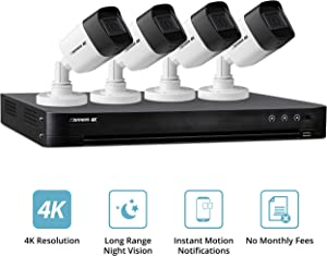 Defender 4k Ultra HD Security Cameras - Night Vision, Mobile Viewing, Motion Detection Cameras for Security - Outdoor Security Cameras for Home (4 Channel 4 Cameras 1st Gen)