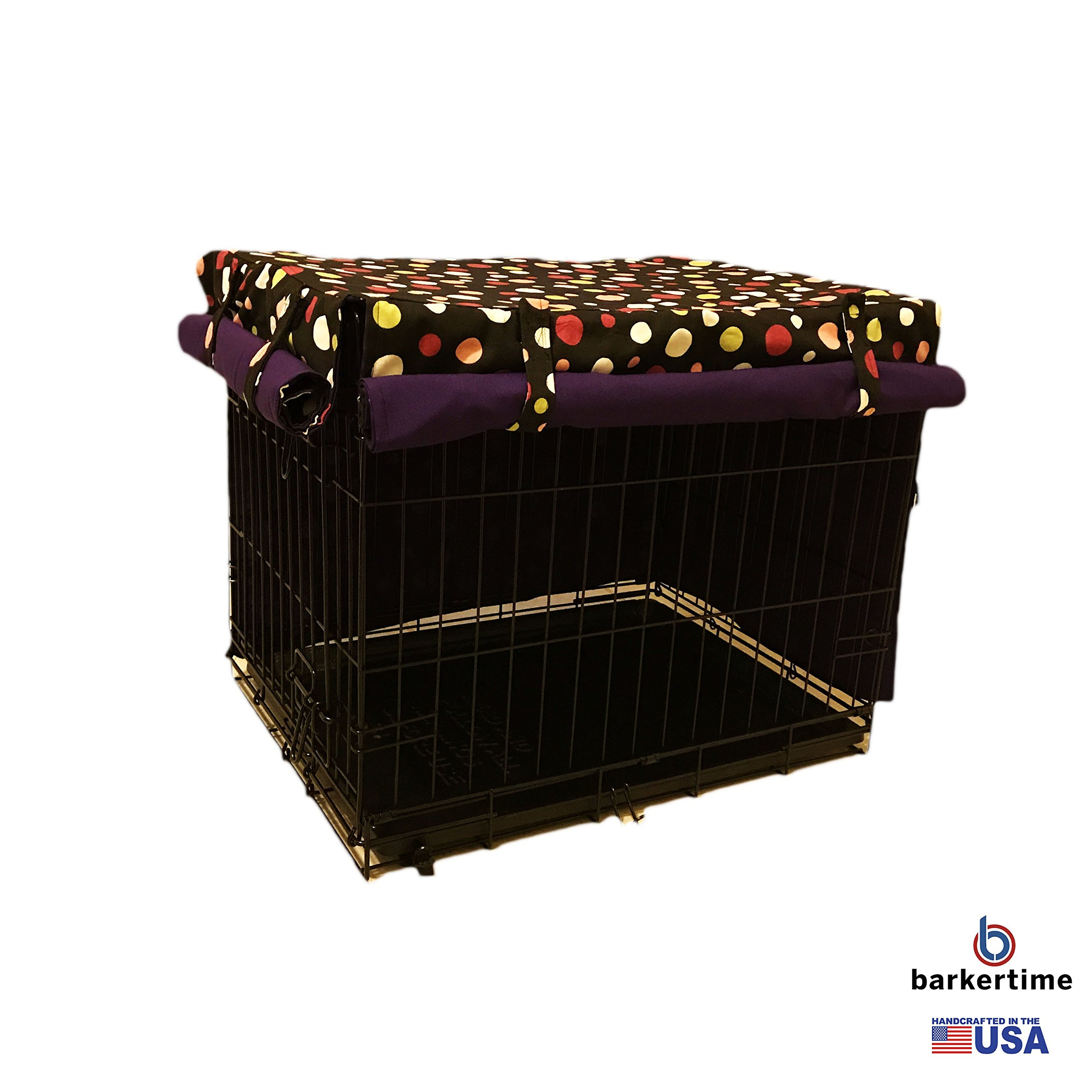 Barkertime Dog Crate Cover - Made in USA - Colorful Polka Dot on Black Pet Crate Cover, XXL