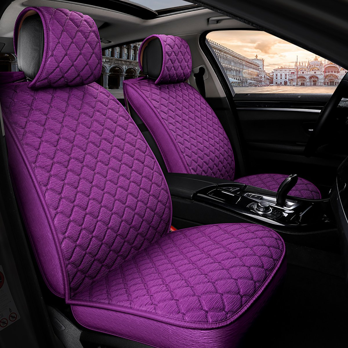 INCH EMPIRE Anti Slip Car Seat Cover Full Set Cloth Universal Fit Front and Back Breathable Dirty Proof Fabric Cushion-Adjustable Bench for 95% Types of 5 Seats Cars(Purple with Stich Grid)