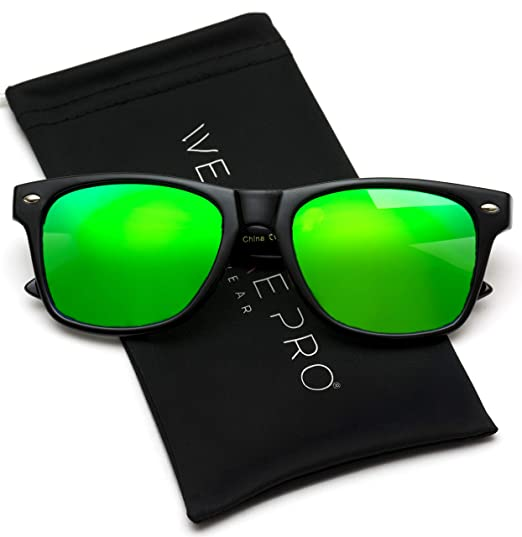 9e1ac87f7b8 Image Unavailable. Image not available for. Color  WearMe Pro - Horn Rimmed  Glossy Frame Sunglasses Mirror Lens Sunglasses