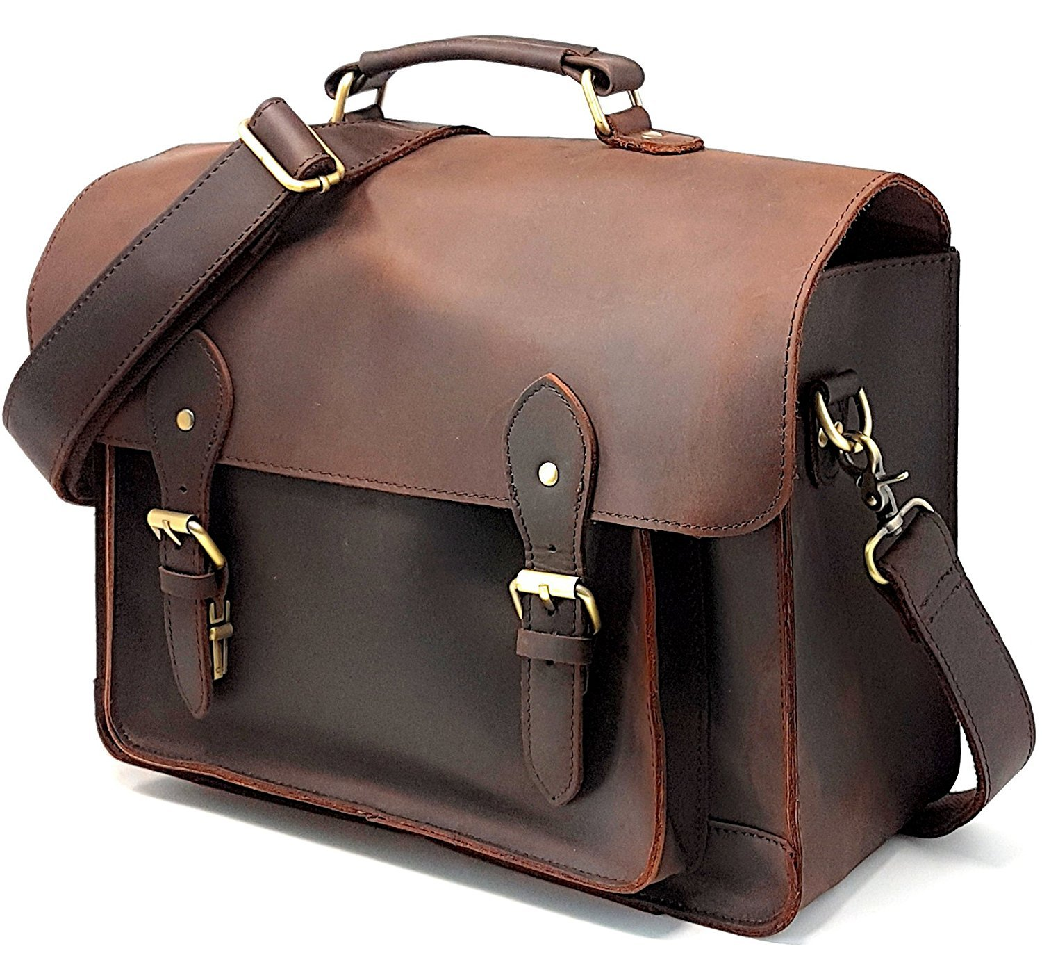 CHI DSLR Laptop Briefcase; Vintage Leather Camera Bag with Removable Insert; Handcrafted with Genuine Leather; Fits Professional Size DSLR with lens For Canon Nikon Sony;