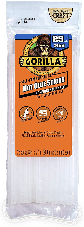 """Gorilla Hot Glue Sticks, Mini Size, 8"""" Long x .27"""" Diameter, 25 Count, Clear, (Pack of 1): Home Improvement"""