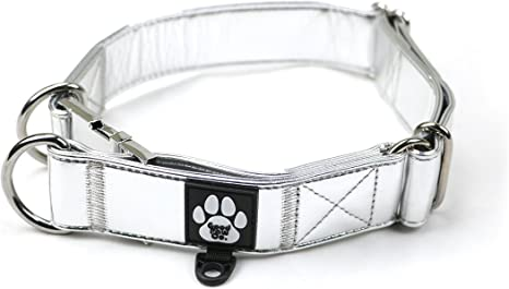 Adjustable dog collar Holographic silver