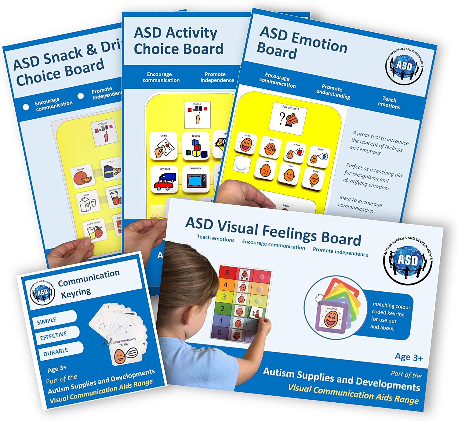 Mega Communication Visuals Bundle (Plastic, Washable, Visual schedules for Autism/Learning Disabilities/ADHD)