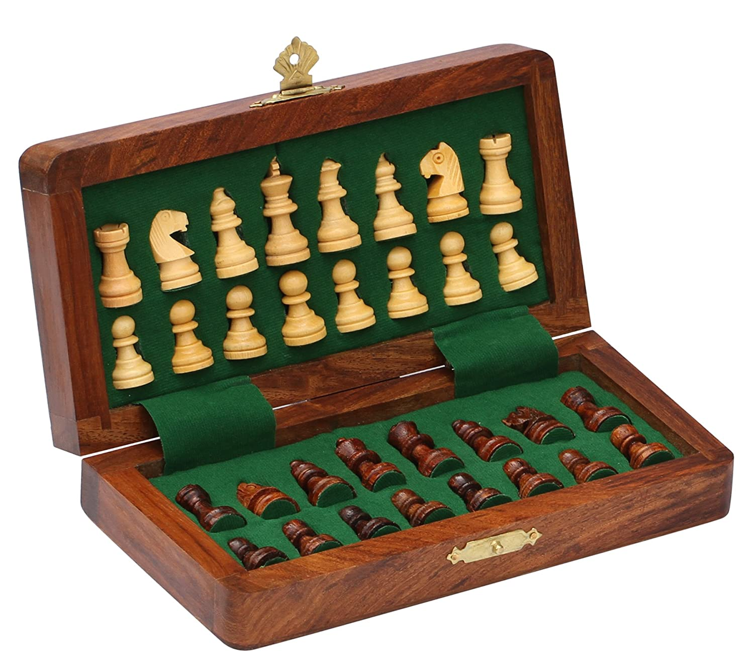 Amazon.com: BKRAFT4U Handmade Wooden Rosewood Foldable Magnetic Chess Game  Board With Storage Slots, 7 Inch: Toys U0026 Games