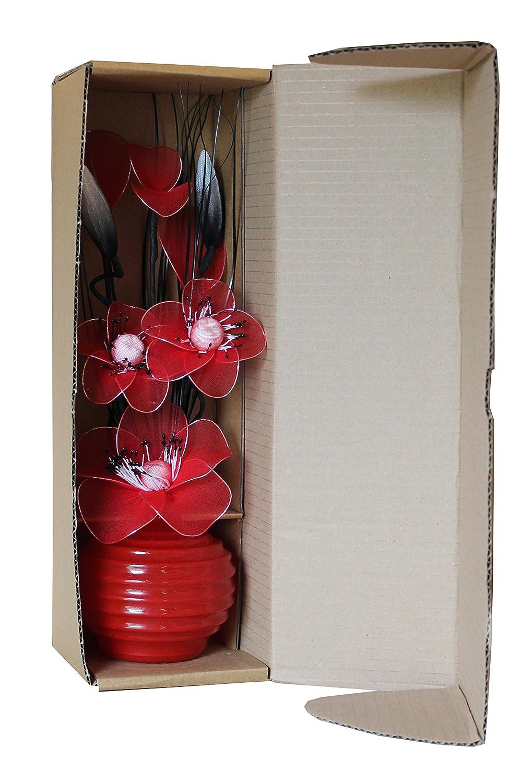 Flourish 704513 813 Black Vase With Blue And White Nylon Artificial