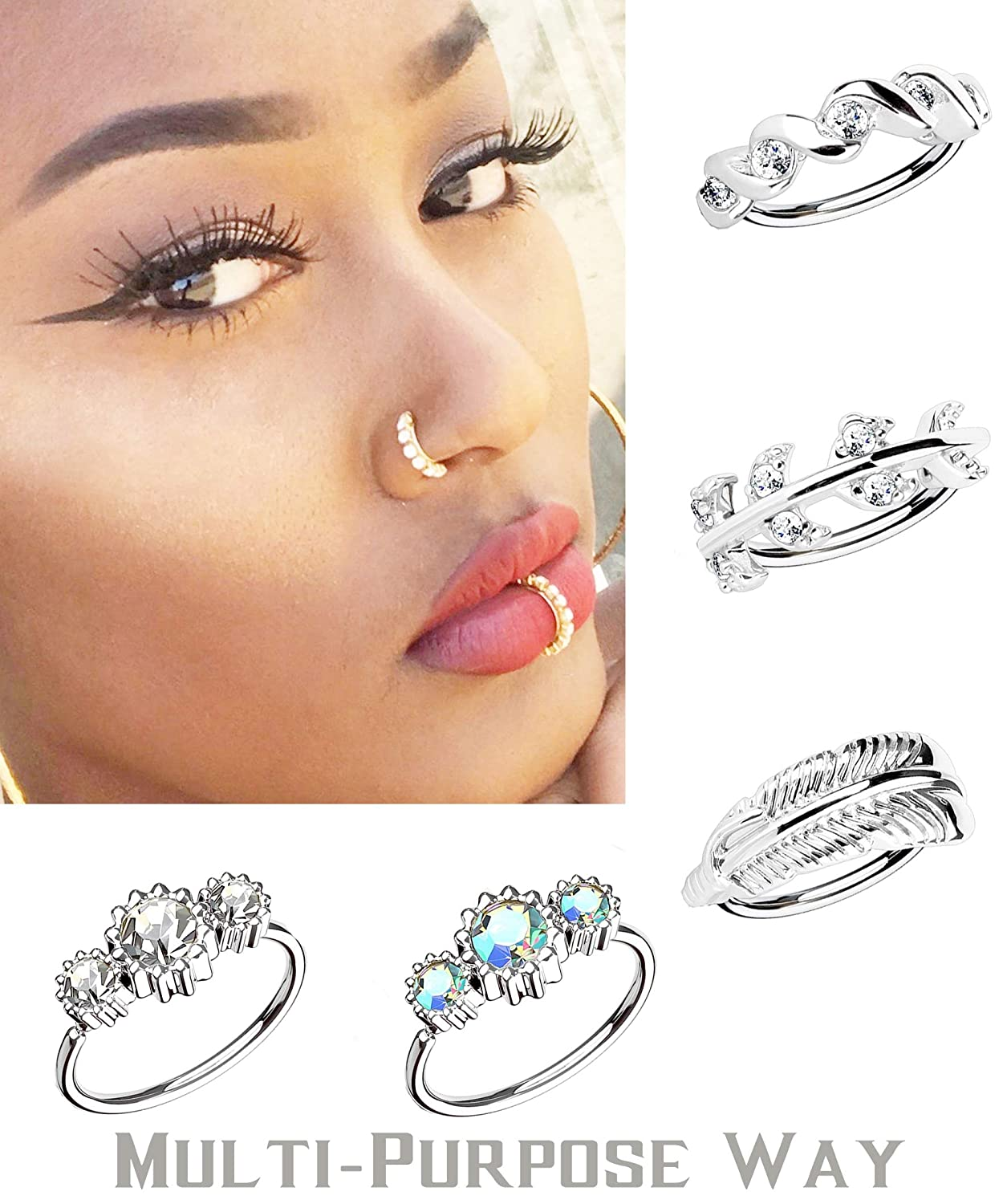 5pcs Silver Tone LOYALLOOK 18-20G Nose Ring Nose Piercing Hoop Paved CZ Crawler Surgical Steel Cartilage Surgical Steel Daith Earrings 5Pcs
