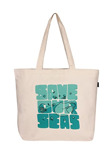 9f03f1ccc Eono Essentials 100% Cotton/Canvas, Reusable, Large Tote Bag Printed Save  Our seas (Natural): Amazon.co.uk: Luggage