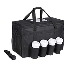 Insulated Food Delivery Bag with 4 Cup Holders - cherrboll Extra Large Commercial Grade Catering Bag - Waterproof, Sturdy Zippers - Ideal for Restaurant Delivery, Grocery Shopping