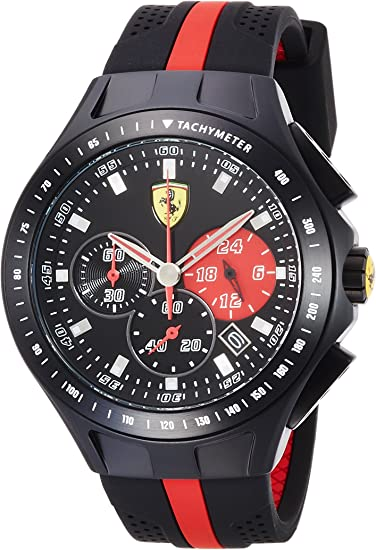 830023 Ferrari Men S Watch Analogue Quartz Black Dial Black Silicone Strap Amazon De Uhren