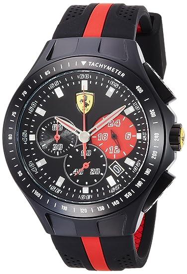 Amazon.com: Ferrari Mens 0830023 Race Day Analog Display Quartz Black Watch: Watches
