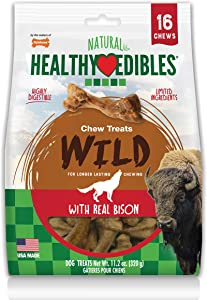 Nylabone Healthy Edibles WILD Natural Long Lasting Bison Flavor Dog Chew Treats 16 count Small - Up to 20 lbs.