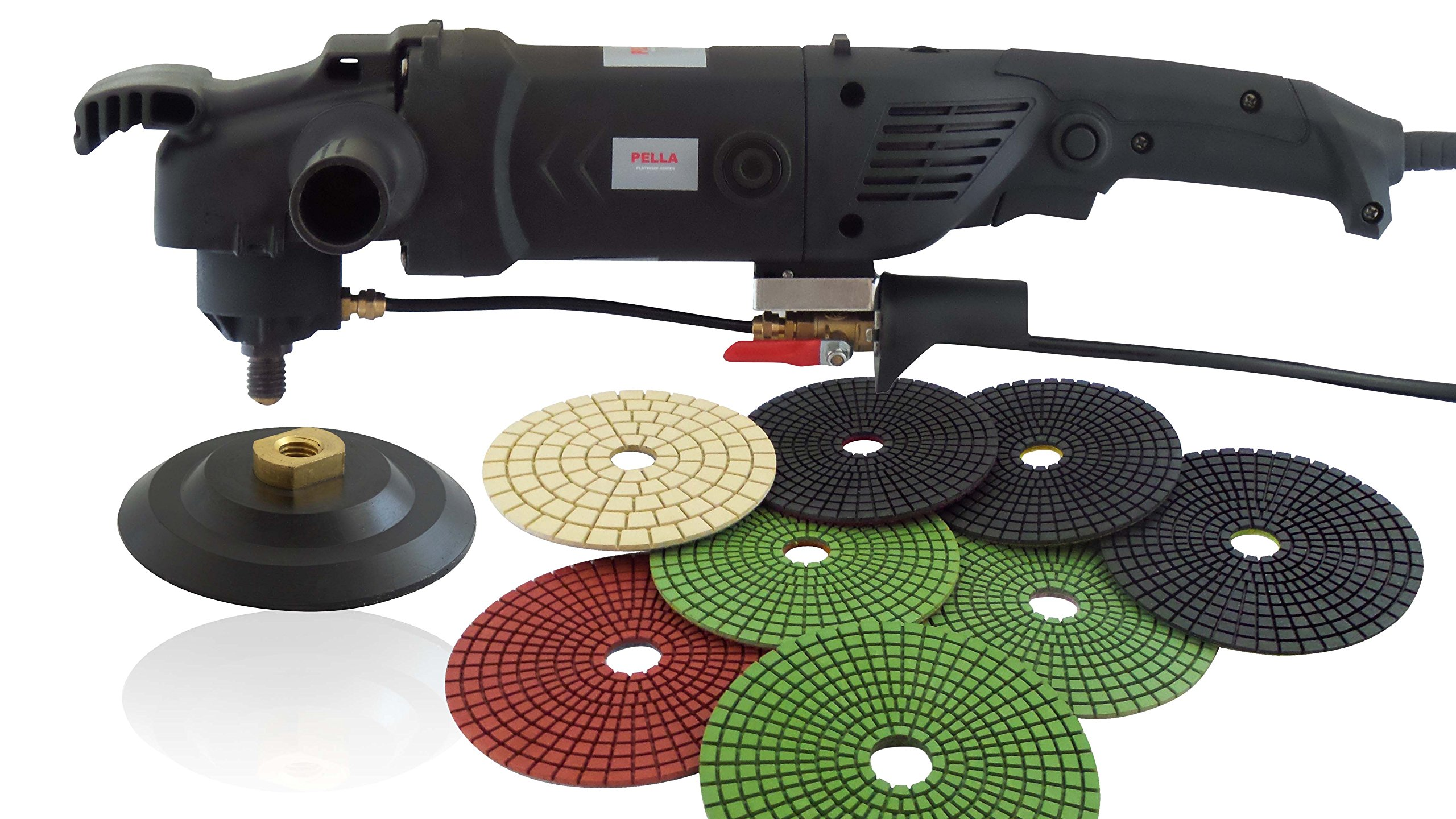 PELLA USA 1200 WATT HEAVY DUTY CONCRETE POLISHER WITH 5'' 8PC PADS AND 5'' SEMI-RIGID BACKER PAD