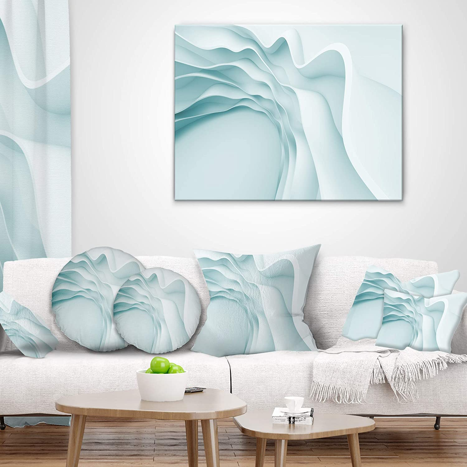 Designart CU9367-16-16-C Fractal Large Blue 3D Waves Contemporary Round Cushion Cover for Living Room Insert Printed On Both Side Sofa Throw Pillow 16